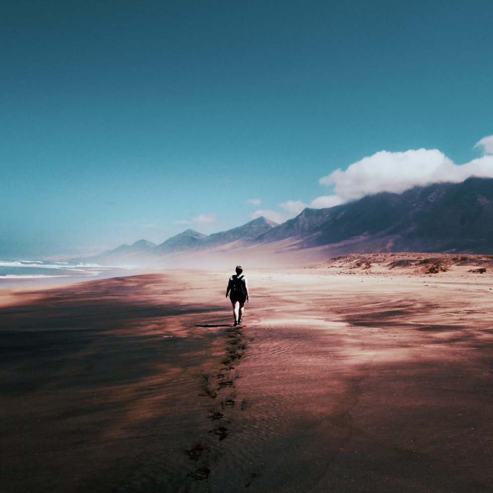 Lonely Guy on Beach